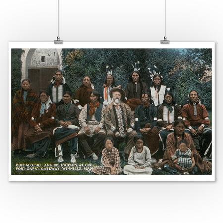 Winnipeg, Manitoba - Fort Garry Gateway, Buffalo Bill and Indians Pose (9x12 Art Print, Wall Decor Travel Poster)