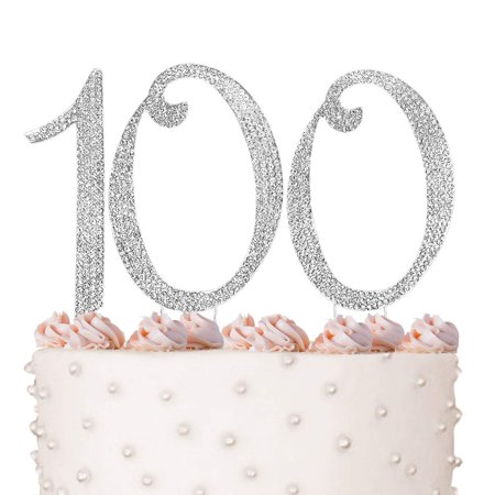 100 100th Happy Birthday Cake Topper Anniversary Crystal Rhinestones On Silver Metal Party Decorations Favors