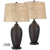Franklin Iron Works Rustic Industrial Table Lamp with USB Charging Port Hammered Oiled Bronze Faux Leather Drum Shade Living Room