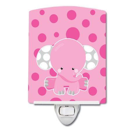 Elephant with Pink Polkadots Ceramic Night Light Dots Heart Night Light