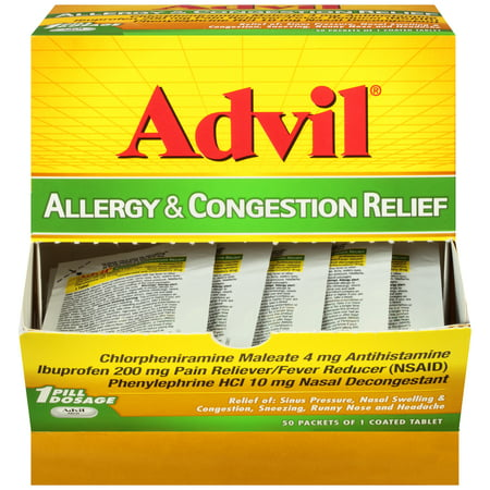 Advil® Allergy & Congestion Relief (50 Count Packets), Antihistamine, 200mg Ibuprofen Pain Reliever/Fever Reducer & Nasal Decongestant, One Tablet (Best Way To Relieve Head Congestion)