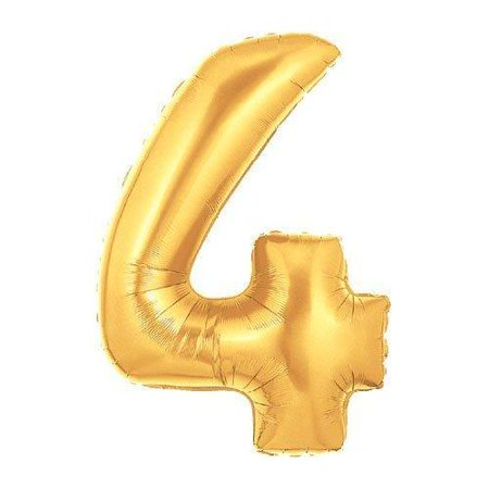 Mylar Number Balloons (40-Inch Giant Gold Foil Balloons, Shiny Mylar, Number 4, Metallic)