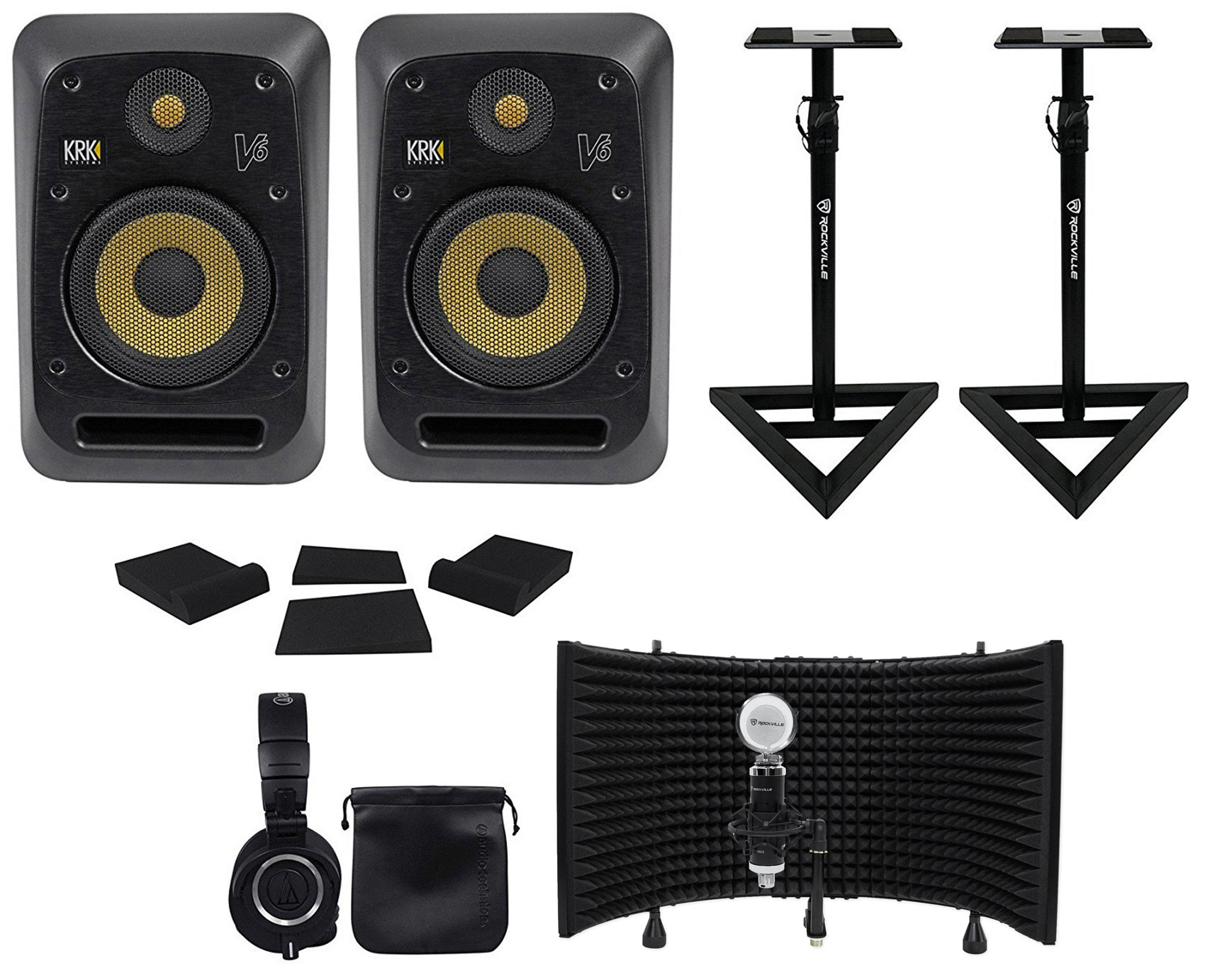 "(2) KRK V6S4-NA 6"" Powered Studio Monitors+Stands+Pads+Headphones+Mic+Shield by KRK"