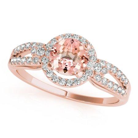 1.15 Ct Diamond - 1.15 Ct. Halo Morganite And Diamond Engagement Ring In 14k Rose Gold