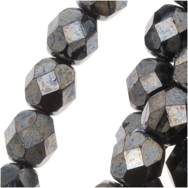 Czech Fire Polished Glass Beads 6mm Round 'Hematite' (25)