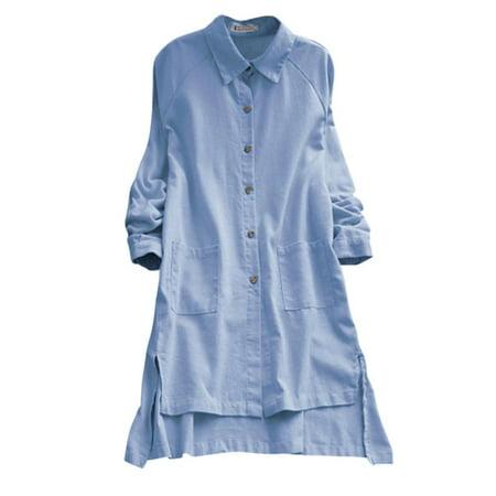 173033a5032 ZANZEA - Women Turn Down Collar Button Up Long Sleeve Asymmetric Hem Tunic  Shirts - Walmart.com