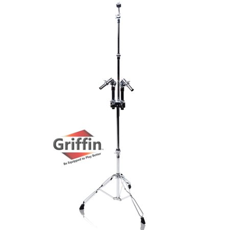 Double Braced Tripod Drum Throne - Double Tom Drum Stand with Cymbal Arm by Griffin Percussion Set Hardware with Dual Drum Mounts Medium Duty Tom Holder with Double Braced Tripod Legs Accommodates All Standard Cymbals