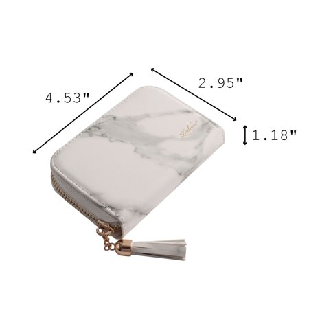 Card Holder Wallet for Women by Zodaca Fashion Small Leather Card Holder Zip Coin Pouch Purse Cluth Mini Wallet 10-Slot for ID Credit Card - White Marble - image 7 de 10