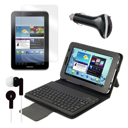 Keyboard Folio with Earphones, Screen Protector, and Car Adapter for Samsung Galaxy Tab 2 7