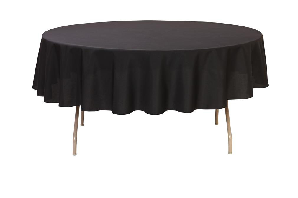 YCC   90 Inch Round Polyester Tablecloth Black