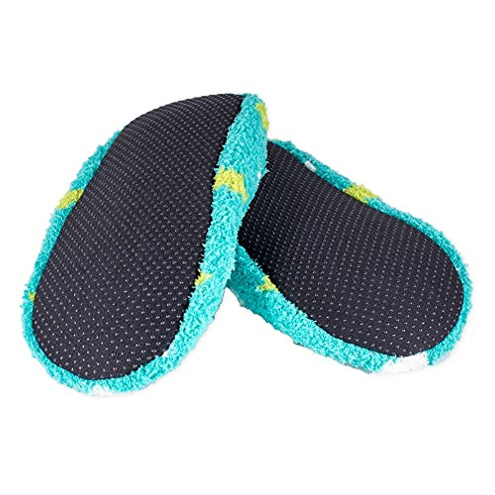 NEW WORLDS SOFTEST Cozy Womens Slippers Turquoise with Dots Size Small
