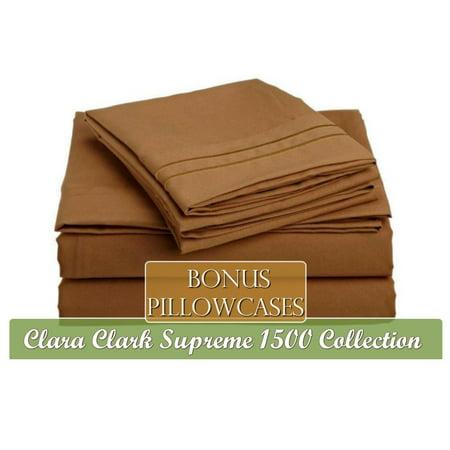 Mocha Queen (Supreme 1500 Collection 6 Piece Bed Sheet Set, Includes Extra Pillowcases, Queen Size, Mocha Light Brown Carmel, Additional bonus pillowcases By Clara Clark,USA)