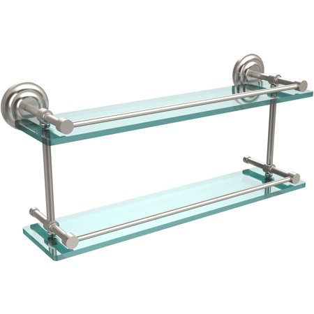 "Que New 22"" Double Glass Shelf with Gallery Rail"