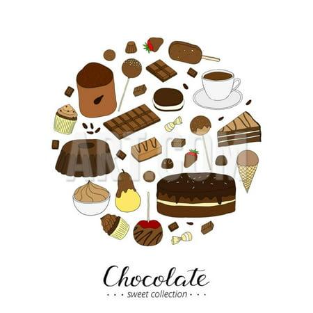 Hand Drawn Chocolate Products in Circle Shape. Cocoa, Chocolate Cake, Cupcake, Bundt, Ice Cream, Ca Print Wall Art By Minur