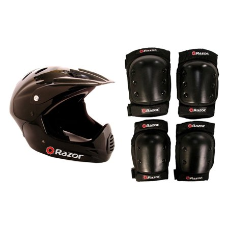 Razor Youth Full Face Riding Sport Scooter Helmet, Black + Elbow and Knee