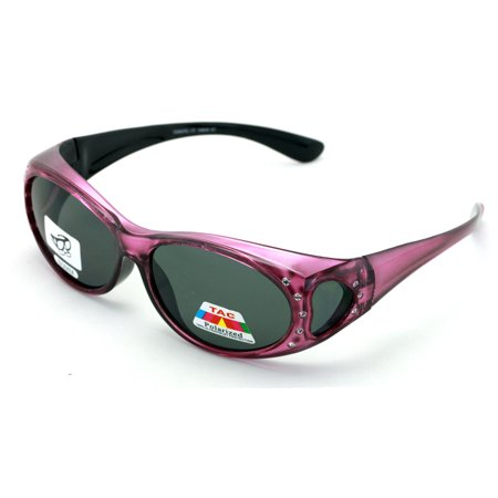Womens Polarized Fit Over Glasses Sunglasses Rhinestone Rectangular Heart 60mm