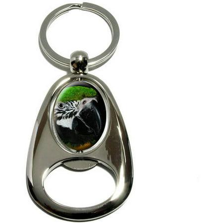 Parrot Silver Plated (Parrot Eye, Blue Green Orange, Chrome Plated Metal Spinning Oval Design Bottle Opener Keychain Key Ring)