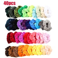 EEEKit 40/20Pcs Hair Scrunchies Set Velvet Elastics Bobbles Elastic Colorful Ponytail Holder for Women Hair Bobbles for Ponytail Holder Colorful Hair Ropes Scrunchy Solid Color Traceless Hair Ties