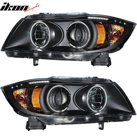 Compatible with 05-08 E90 E91 4Dr WGN Projector Headlights Halo CCFL 4dr 1 Piece Projector