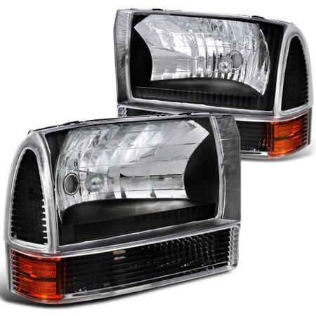 Spec-D Tuning For 1999-2004 Ford F250 F350 F450 4Pcs Black Headlights + Corner Lights Turn Signal Lamps (Left+Right) 1999 2000 2001 2002 2003