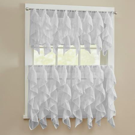 Sheer Voile Vertical Ruffle Window Kitchen Curtain 24