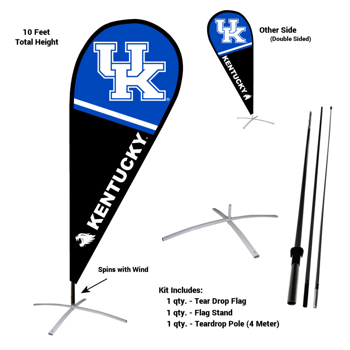 University of Kentucky Wildcats Teardrop Flag Pole and Stand Kit