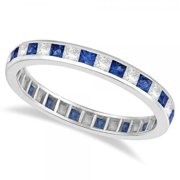 14k Gold 1 1/3ct Princess-cut Blue Sapphire & Diamond Eternity Ring (G-H, SI1-SI2) 14k Yellow Gold - Size 3.5