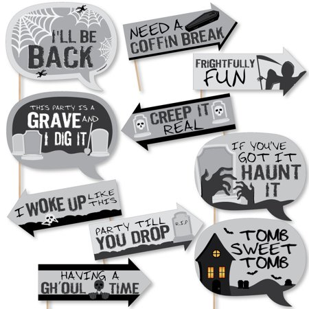 Funny Graveyard Tombstones - Halloween Party Photo Booth Props Kit - 10 Piece