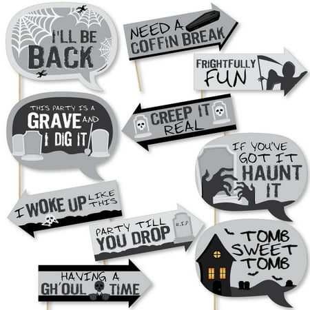Funny Graveyard Tombstones - Halloween Party Photo Booth Props Kit - 10 Piece (Funny Halloween Party Titles)