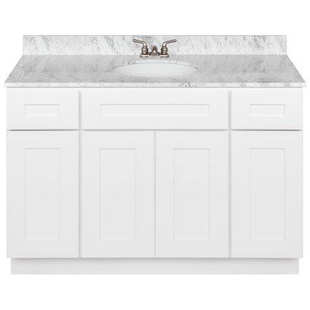 "White Bathroom Vanity 48"", Cara White Marble Top, Faucet ..."