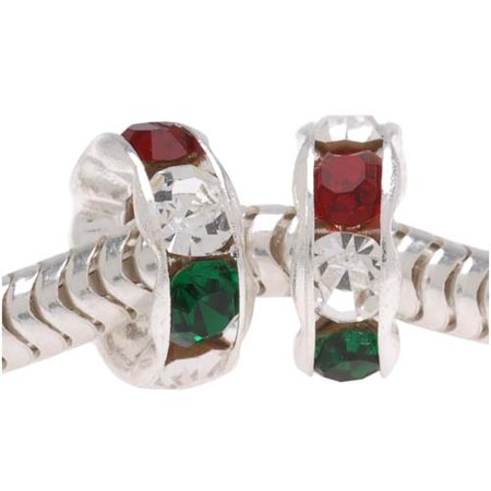 Silver Plated w/ Christmas Red & Green Czech Crystal Large Hole Rondelle Beads 8mm (2)