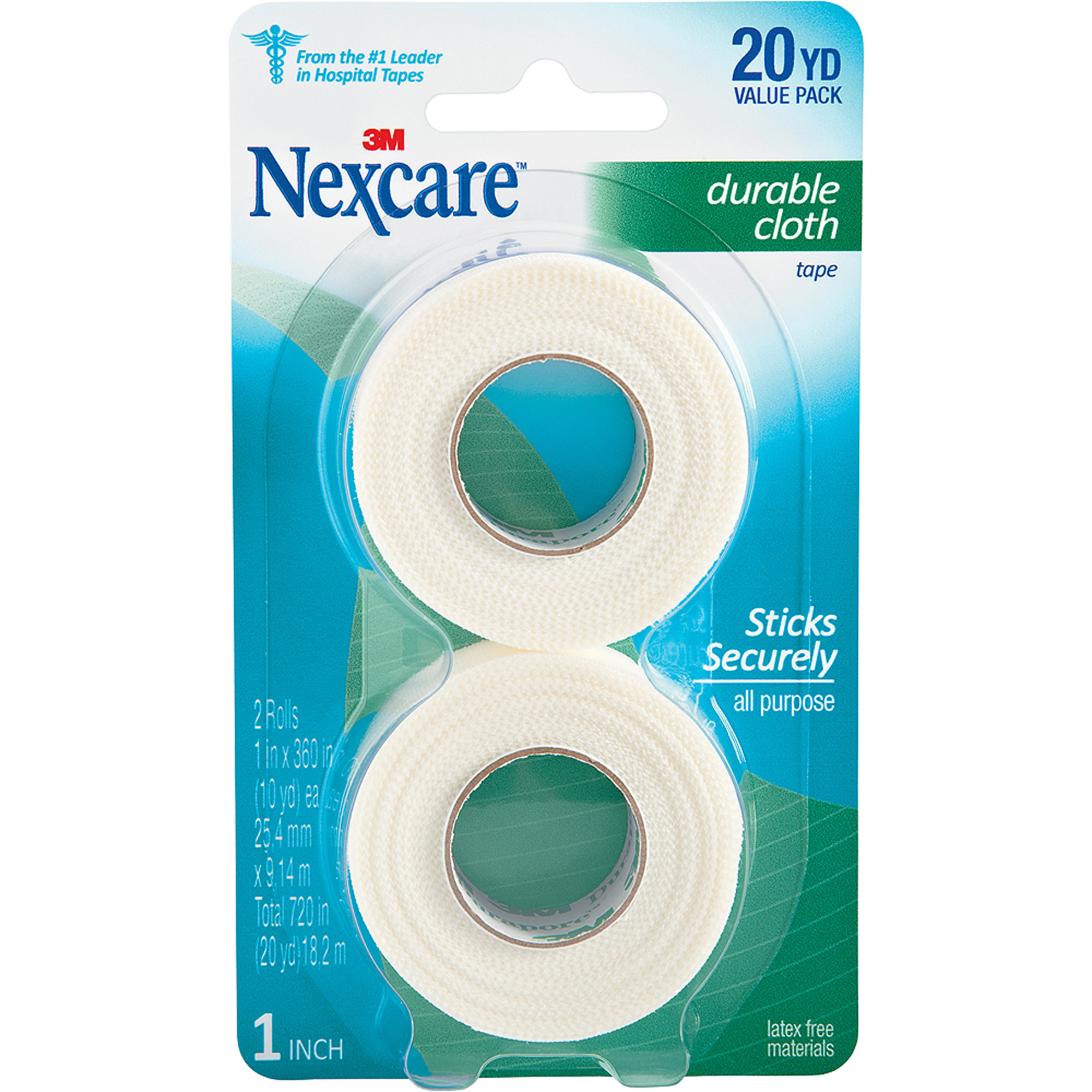 Nexcare Durable Cloth First Aid Tape, 791-2PK, 1 in x 10 yds, 2 rolls