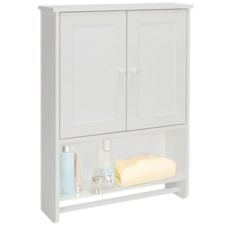 Cottage Wall Cabinet - Wall Mount Bathroom Cabinet Wooden Medicine Cabinet Storage Organizer with 2-Door Cottage Collection Wall Cabinet White