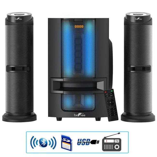 BeFree BFS-849HC 2.1 Channel, Multimedia Wired Speaker Shelf System with Sound Reactive LED lights & USB Input - image 1 of 1