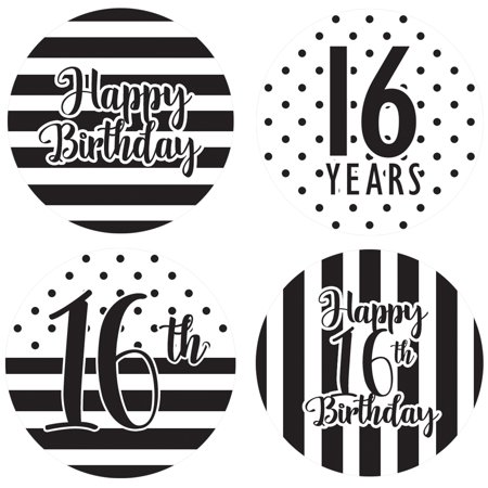 16th Birthday Party Favor Labels, 60ct - Sweet 16 Black and White Stripe and Polka Dot Birthday Party Supplies - 60 Count Happy Birthday Stickers (1 3/4 inch)