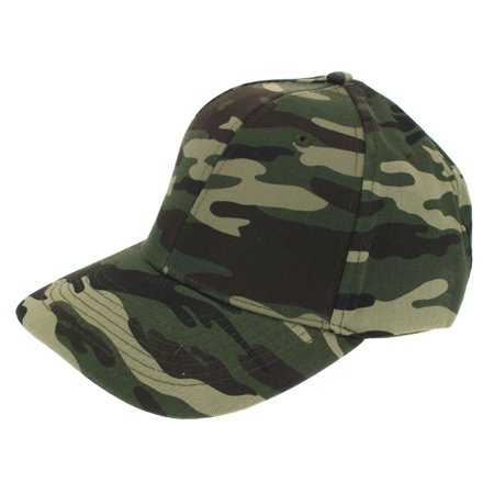 Mens Low Crown 6 Panel Camouflage Twill Baseball Cap Green Camo ()