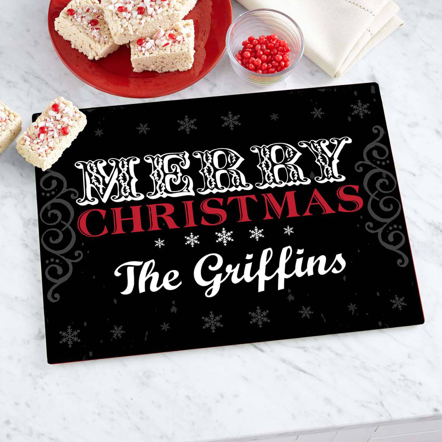 Personalized Merry Christmas Glass Cutting Board