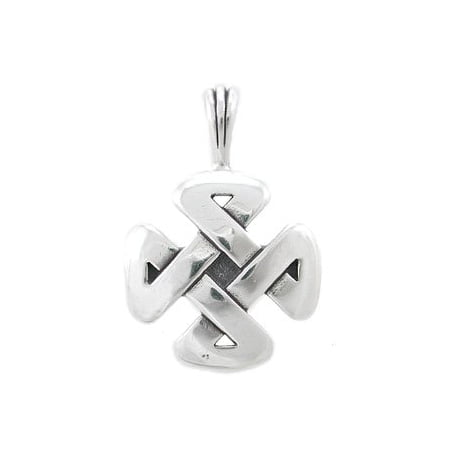 Cross Shaped Celtic Knot Pendant in Sterling Silver with 'Strength' Inscription for Men, Teen Boys or Women, #8202 925 Silver Celtic Knot