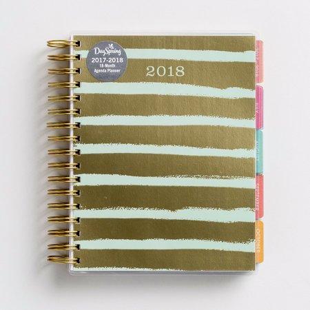 Agenda Planner 2017 2018 Gold Stripe  18 Month   7 X 9