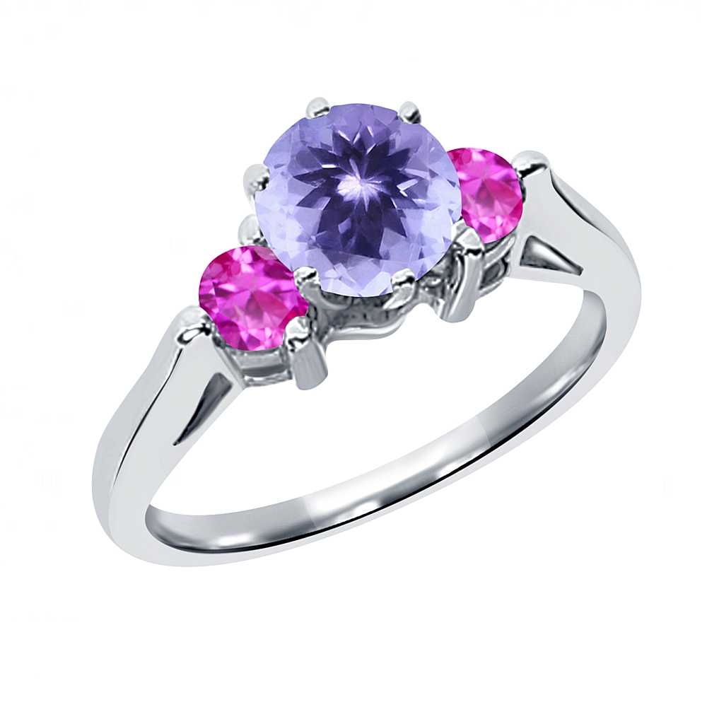 0.62 Ct Round Blue Tanzanite Pink Sapphire 18K White Gold 3-Stone Ring by