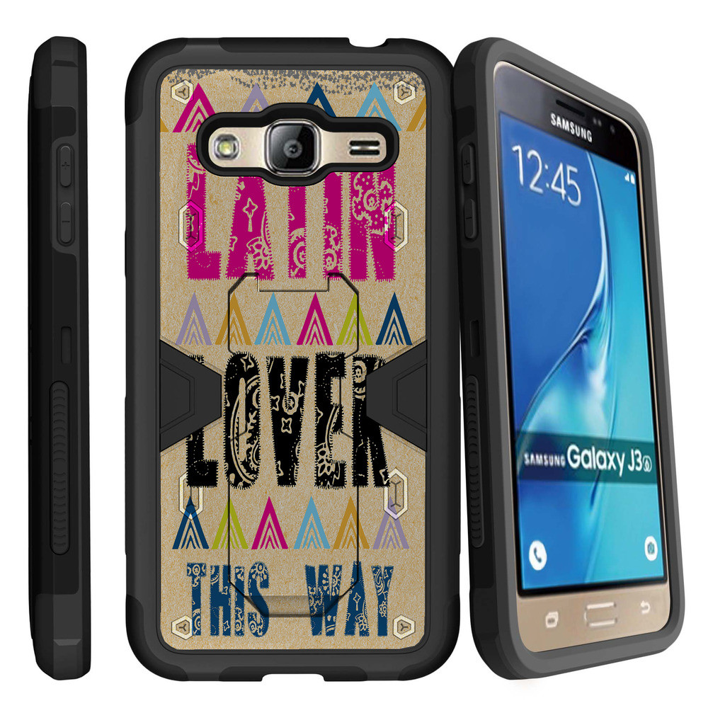 Samsung Galaxy J3, Galaxy Sky Dual Layer Shock Resistant MAX DEFENSE Heavy Duty Case with Built In Kickstand - Latin Lover