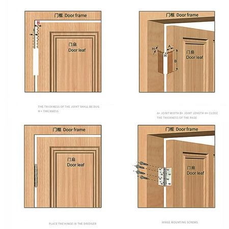 Door Butt Corner Hinge Stainless Steel Furniture Hardware Hinges Replacement for Cabinet Kitchen Folding Hinges - image 8 de 9