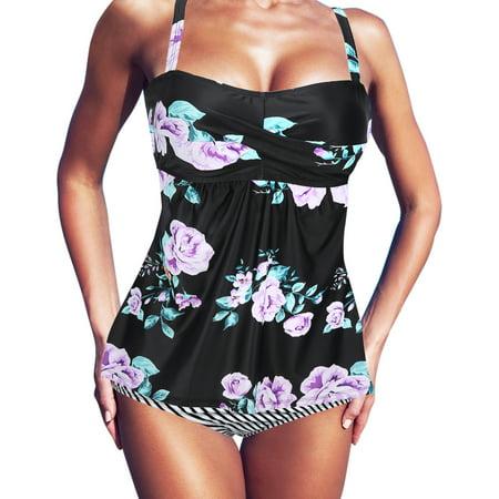 HDE Womens Tankini Bathing Suit Set Plus Size Swimdress High Waist Bikini