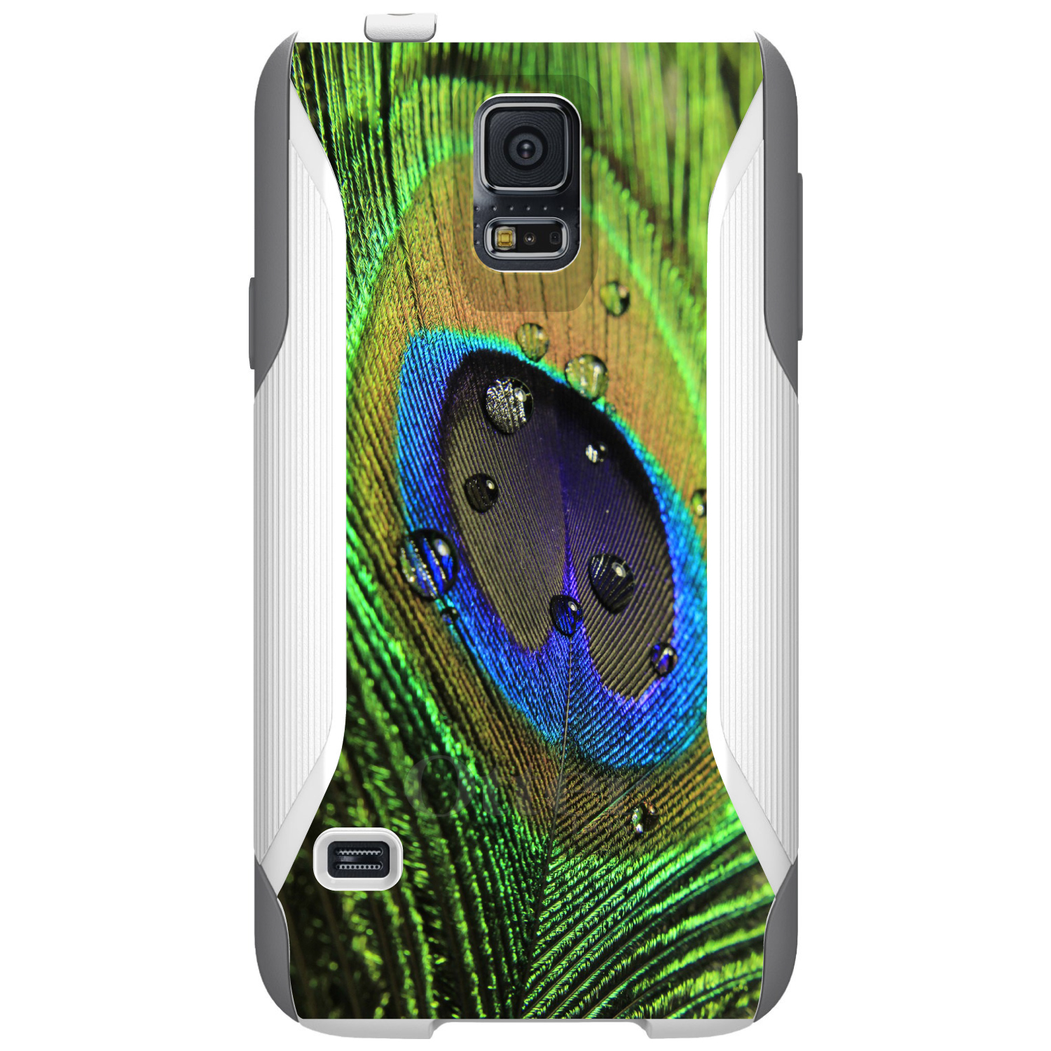 DistinctInk™ Custom White OtterBox Commuter Series Case for Samsung Galaxy S5 - Peacock Feather Close Up
