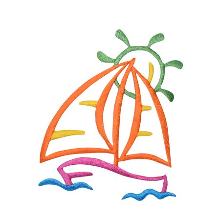 Sailboat - Colorful Outline - Summer View - Ocean - Lake - Iron on Applique/ Embroidered Patch