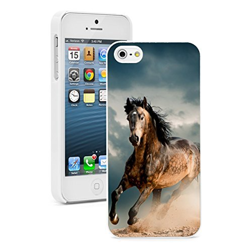 Apple iPhone 6 6s Hard Back Case Cover Wild Stallion Horse (White)