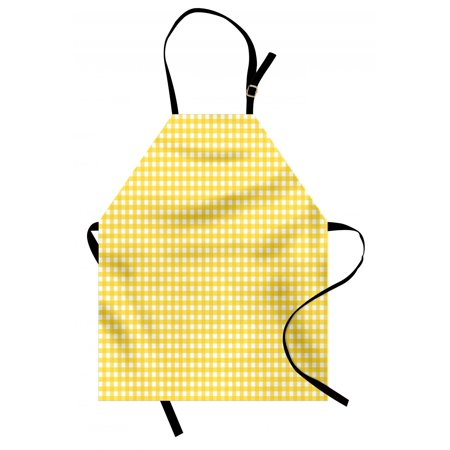 Checkered Apron Classic English Pattern in Yellow Picnic in Summertime Theme Retro Striped, Unisex Kitchen Bib Apron with Adjustable Neck for Cooking Baking Gardening, Yellow White, by Ambesonne
