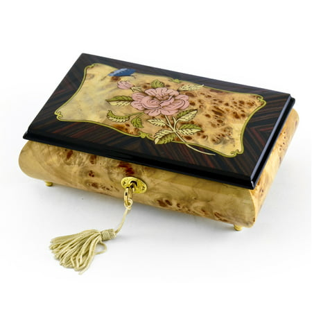Harmonious Single Pink Rose and Butterfly with Rosewood Frame Music Box - Adeste Fideles (0 ComeAll Ye Faithful) - SWISS