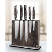 Art and Cook Stainless Steel 6-Piece Ash Wood Knife Set with Magnetic Block