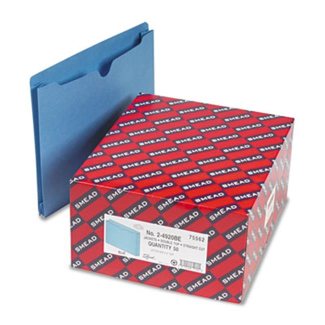 Smead 75562 File Jackets  2-Ply Tab and 2 inch Accordion Expansion  Letter  11 Pt  Blue  50-Box